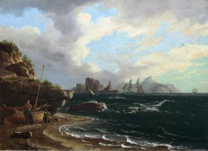 Figures with Docked Boat at Shoreline - Thomas Birch Oil Painting