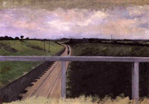 Landscape with Railway Tracks - Gustave Caillebotte Oil Painting
