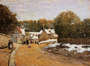 Early Snow at Louveciennes - Alfred Sisley Oil Painting