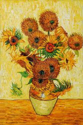Vase With Fifteen Sunflowers Vincent Van Gogh Oil Painting Oil