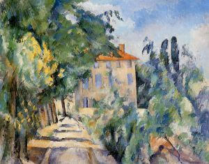 House with Red Roof - Paul Cezanne Oil Painting