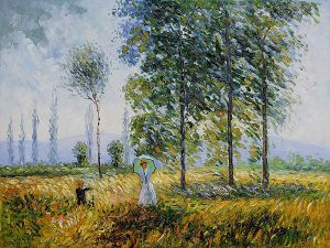 Under The Poplars Sun Effect - Claude Monet Oil Painting