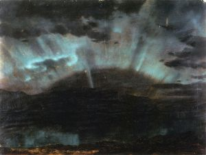 Aurora Borealis, Mt. Desert Island, from Bar Harbor, Maine - Frederic Edwin Church Oil Painting