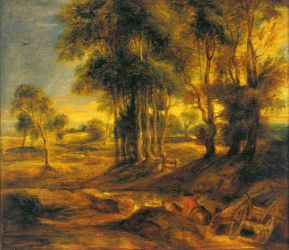 Landscape with the Carriage at the Sunset - Peter Paul Rubens Oil Painting