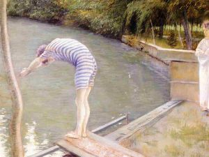 Bathers, Banks of the Yerres - Gustave Caillebotte Oil Painting