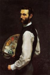 Self Portrait with Palette - Jean Frederic Bazille Oil Painting