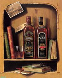 Books, two bottles of grape wine on the shelf - Oil Painting Reproduction On Canvas