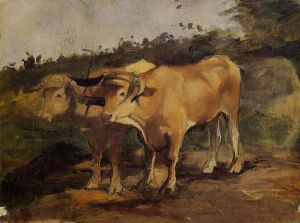 Two Bulls Wearing a Yoke - Henri De Toulouse-Lautrec Oil Painting