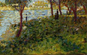 Landscape with Figures - Georges Seurat Oil Painting
