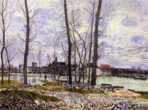 Flood at Moret-sur-Loing - Alfred Sisley Oil Painting