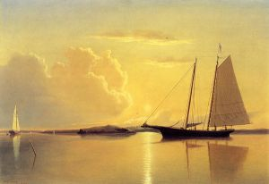 Schooner in Fairhaven Harbor, Sunrise - William Bradford Oil Painting