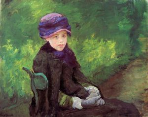 Susan Seated Outdoors Wearing a Purple Hat - Mary Cassatt Oil Painting