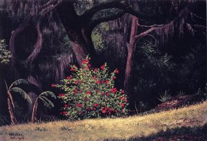 Woodland Scene with Red-Flowered Bush - William Aiken Walker Oil Painting