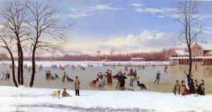 Skating in the Bois de Boulogne - Conrad Wise Chapman Oil Painting