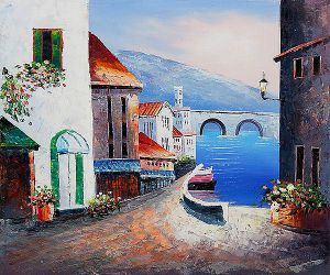 A Bridge from Market - Oil Painting Reproduction On Canvas