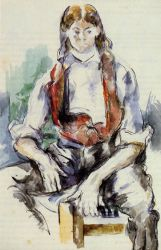 Boy in a Red Vest III - Paul Cezanne Oil Painting