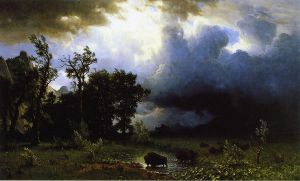 Buffalo Trail: the Impending Storm - Albert Bierstadt Oil Painting