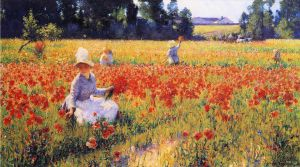 Coquelicots - Robert Vonnoh Oil Painting