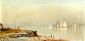Harbor Scene and White Sails - Alfred Thompson Bricher Oil Painting