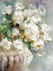 A bunch of white flowers - Oil Painting Reproduction On Canvas