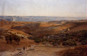 Mountains of Moab Seen from Bethany - Gustav Bauernfeind Oil Painting