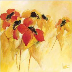 Some red and yellow flowers - Oil Painting Reproduction On Canvas