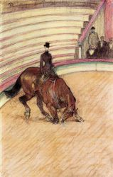 At the Circus: Dressage - Henri De Toulouse-Lautrec Oil Painting
