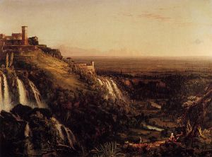 The Cascatelli, Tivoli, Looking Towards Rome - Thomas Cole Oil Painting