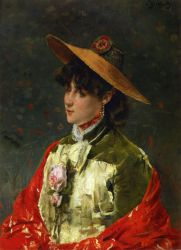 Woman in a Straw Hat - Oil Painting Reproduction On Canvas