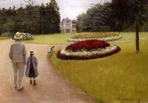 The Park on the Caillebotte Property at Yerres - Gustave Caillebotte Oil Painting