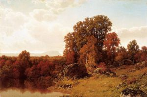 Autumn Scene on the Connecticut River - William Mason Brown Oil Painting