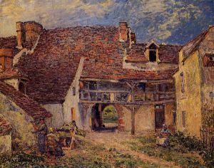 Courtyard of a Farm at Saint-Mammes - Alfred Sisley Oil Painting