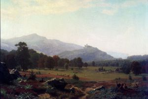 Autumn in the Conway Meadows Looking towards Mount Washington, New Hampshire - Albert Bierstadt Oil Painting