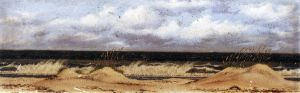 Florida Beach Scene with Sand Dunes, Sea Oats and Surf - William Aiken Walker Oil Painting