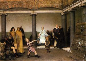 The Education of the Children of Clovis - Sir Lawrence Alma-Tadema Oil Painting