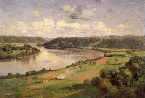 The Ohio river from the College Campus, Hanover - Theodore Clement Steele Oil Painting