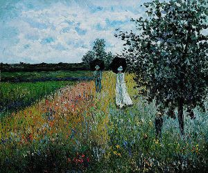Walking Near Argenteuil - Claude Monet Oil Painting