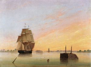 View on the Delaware II - Thomas Birch Oil Painting
