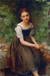 Young Girl with Flowers - Oil Painting Reproduction On Canvas