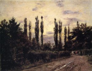 Evening, Poplars and Roadway near Schleissheim - Theodore Clement Steele Oil Painting
