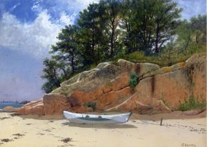Dory on Dana's Beach, Manchester-by-the-Sea, Massachusetts - Alfred Thompson Bricher Oil Painting