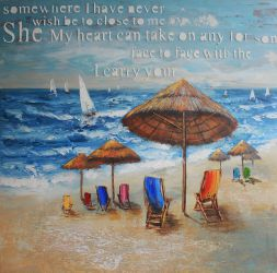 On the beach--Oil painting reproduction