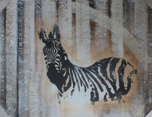 Decorative zebra painting