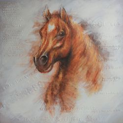 Horse head on decorative painitng