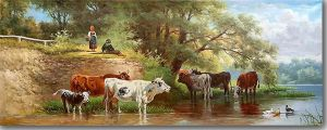 Classical landscape with cattle