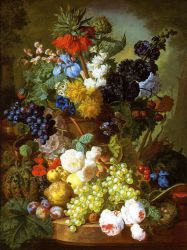 Still Life of Flowers, Fruit and Bird\'s Nest on a Marble Ledge - Jan Van Os Oil Painting